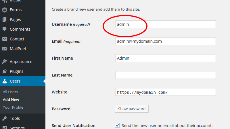 Change default username in WordPress