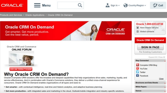 Oracle CRM on demand Stellen